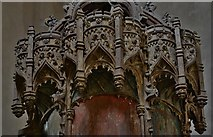 TG2834 : Trunch: St. Botolph's Church: The oak font canopy (ca. 1500) 3 by Michael Garlick