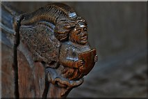 TG2834 : Trunch: St. Botolph's Church: Carving in the choir stalls 4 by Michael Garlick