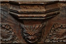 TG2834 : Trunch: St. Botolph's Church: C14th grotesque misericord 1 by Michael Garlick