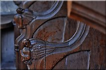 TG2834 : Trunch: St. Botolph's Church: Carving in the choir stalls 5 by Michael Garlick