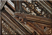 TG2834 : Trunch: St. Botolph's Church: Mid c15th single hammerbeam roof 5 by Michael Garlick