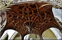 TG2834 : Trunch: St. Botolph's Church: The oak font canopy (ca. 1500) 2 by Michael Garlick