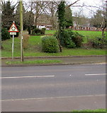 ST6976 : Warning sign - roundabout 135 yards ahead,  Shortwood Road, Pucklechurch by Jaggery