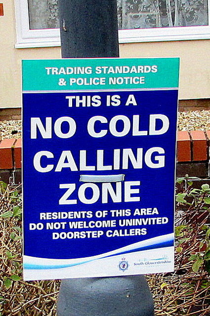 No Cold Calling Zone notice, Dennisworth,  Pucklechurch