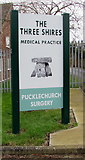 ST6976 : Nameboard outside The Three Shires Medical Practice Pucklechurch Surgery by Jaggery