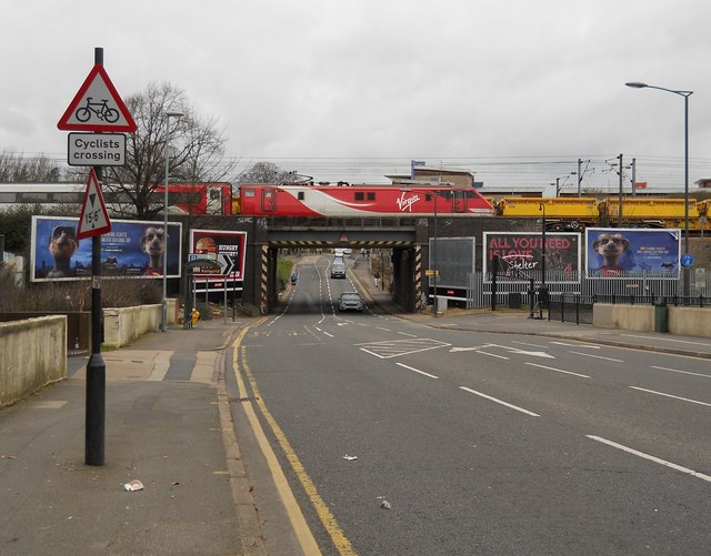 Virgin train crosses the railway bridge on Oundle Road, Peterborough