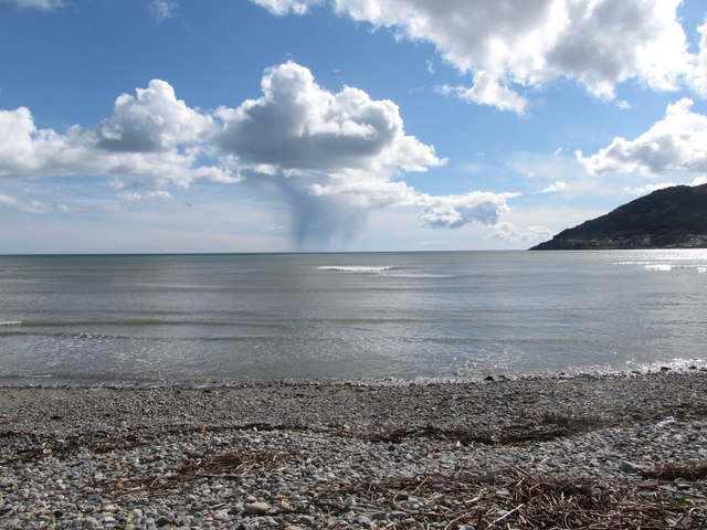 Solitary hail shower over Dundrum Bay