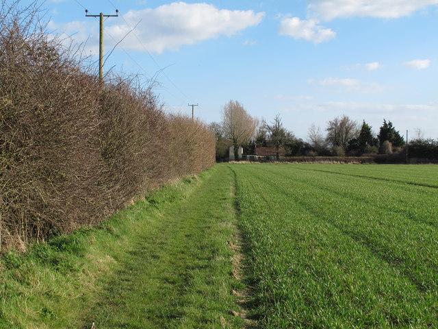 Footpath through arable land to Halesworth Road, Redisham