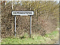 TM1454 : Hemingstone Village Name sign by Adrian Cable