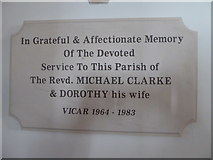 SU3477 : St James, Eastbury: memorial to a former incumbent by Basher Eyre