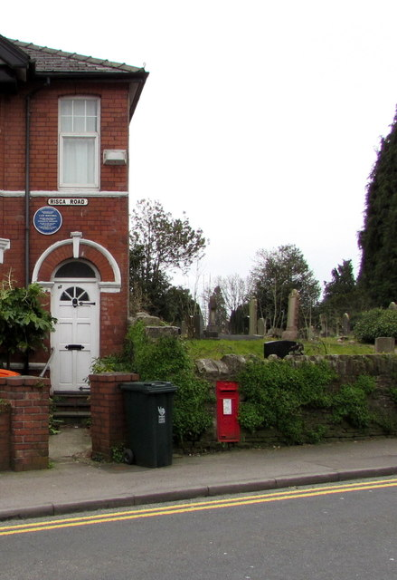 Blue plaque and red postbox, Risca Road, Newport