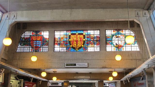 Uxbridge tube station - stained glass windows