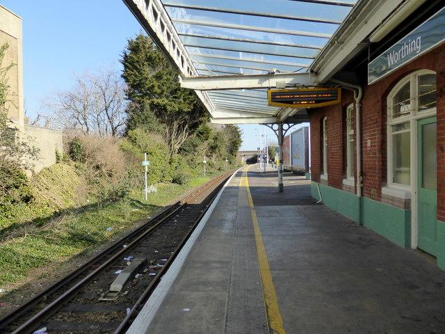 Platform at Worthing Station