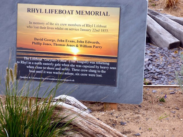 The plaque on the Rhyl Lifeboat Memorial
