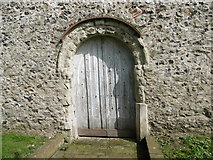 TQ9963 : Norman doorway at St Mary's Church, Luddenham by Marathon