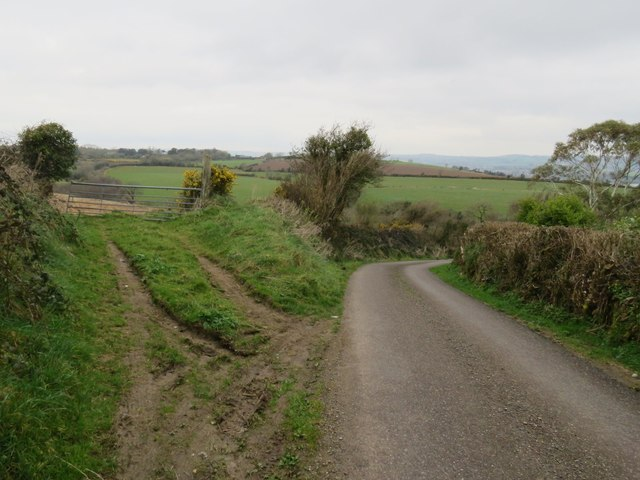 Fields with a gateway from a country road