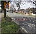 SO9221 : Warning sign - school,  Hatherley  Road, Cheltenham by Jaggery