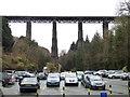 SX1764 : Viaduct seen across Trago Mills car park by Chris Allen