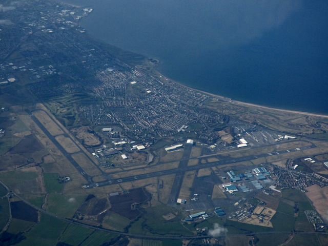 Prestwick Airport and Prestwick from the air