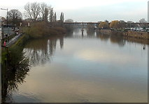 SO8455 : River Severn between two bridges, Worcester by Jaggery