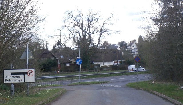 Junction at the lane leading from Raglan Castle