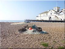 SZ9398 : Lobster pots and Pier, Bognor Regis, West Sussex by Jeff Gogarty