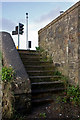 SS5532 : Steps at the distal end, on the upstream side, of Barnstaple Long Bridge by Roger A Smith
