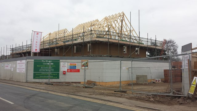 New housing to replace the derelict shops in Hightown. Hednesford