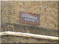 TQ3378 : Name panel in bespoke tiles, Tenterden House, Kinglake Estate, Walworth by Robin Stott