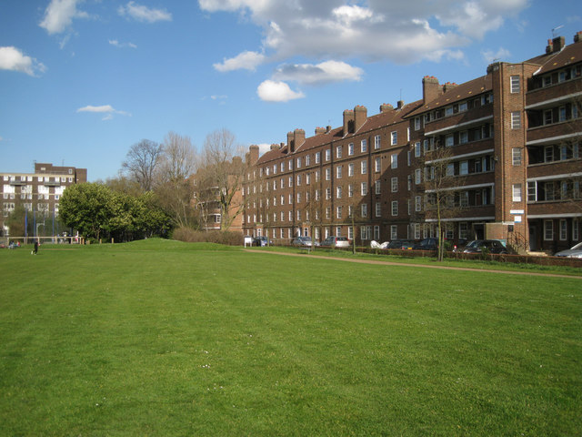 Three blocks of the Kinglake Estate fronting Surrey Square Park, Walworth