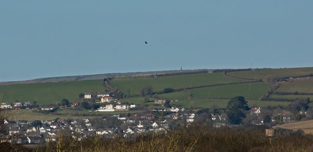 A view across east Braunton towards the Artavia TV mast