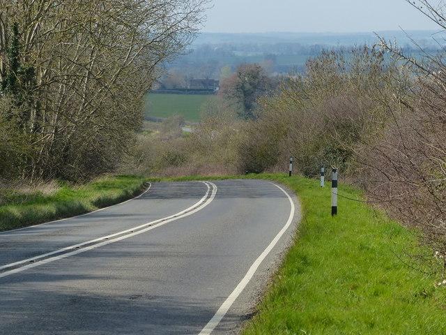 Oundle Road descending towards Elton