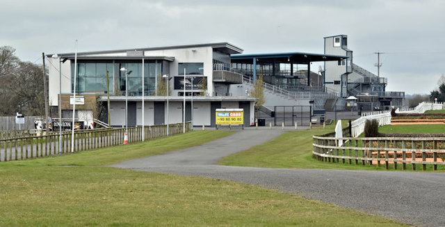 The grandstand at Down Royal racecourse (April 2016)