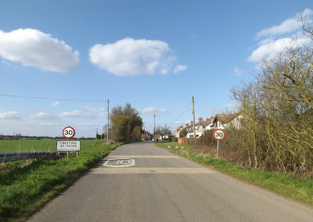 Entering Creeting St.Peter on Pound Road