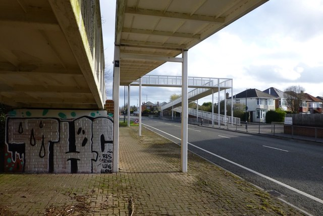 Footbridge with graffiti over Boundary Road