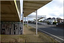 SZ0894 : Footbridge with graffiti over Boundary Road by David Lally