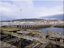 NS2982 : Woodwork of pier at Helensburgh by Trevor Littlewood