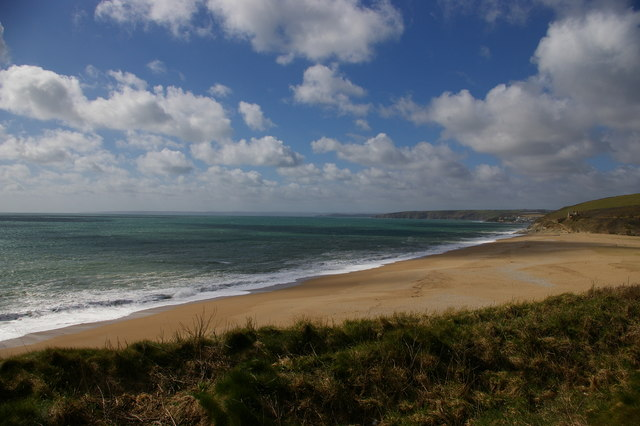 Loe Bar from the south end, by the HMS Anson memorial
