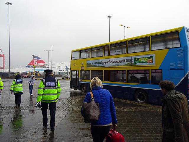 Boarding the Irish Ferries transfer bus at Dublin Port