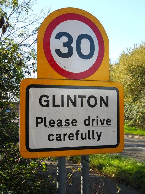 Speed limit sign on Peakirk Road, Glinton