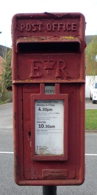 Close up, Elizabeth II postbox on Uttoxeter Road, Foston