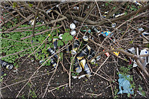 TA0827 : Cans of Strongbow alongside the Clive Sullivan Way, Hull by Ian S
