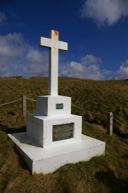 HMS Anson memorial, above Porthleven Sands