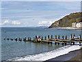 SN5881 : Breakwater, Aberystwyth Beach by David Dixon