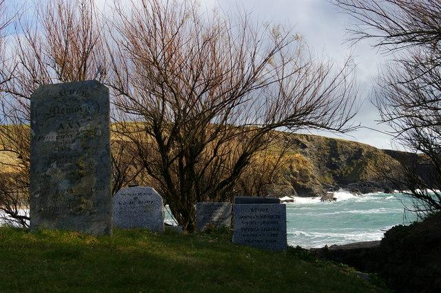 Gravestones, St Winwaloe's churchyard, Gunwalloe