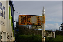 SW6522 : Sign at junction of lanes, Gunwalloe by Christopher Hilton
