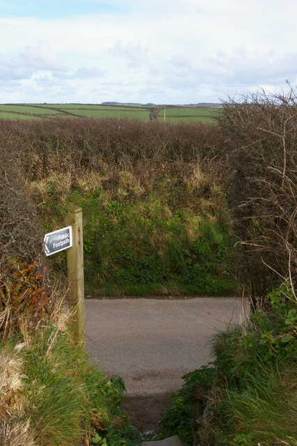 Footpath leaving lane, north of Gunwalloe