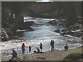 SD6178 : Messing about in the river, Devil's Bridge, Kirkby Lonsdale by Karl and Ali