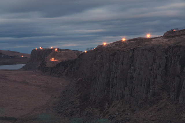 Beacons lit along Hadrian's Wall