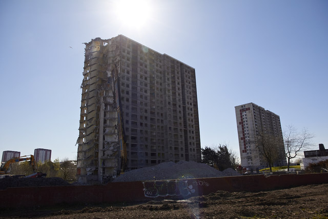 Sighthill high rise demolition & contamination